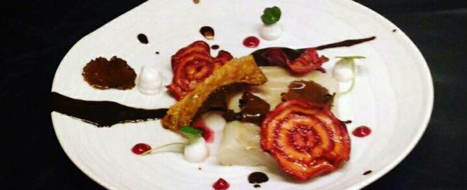 Baccalà con tartufo, rapa rossa e aglio Nero di Voghiera