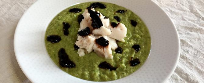 Baccalà in umido con purea di zucchine e crema di aglio Nero di Voghiera