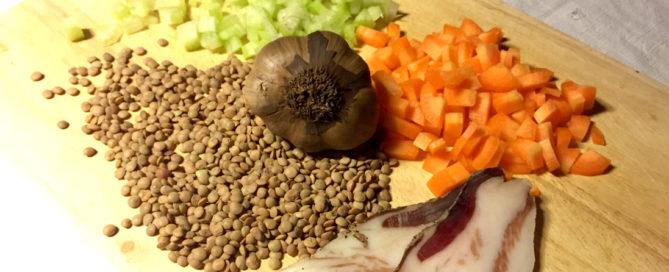 Lenticchie in umido con guanciale e aglio Nero di Voghiera